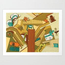 Monsters on Stairs Art Print