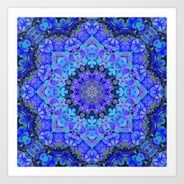 Blue Hydrangea Mondala Art Print