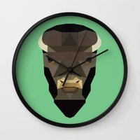 buffalo Wall Clocks featuring Buffalo by Alysha Dawn