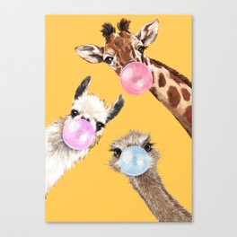 Bubble Gum Gang in Yellow Canvas Print