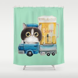 A cat in a beer truck Shower Curtain