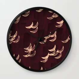 Solar eclipse shadows // burgundy Wall Clock