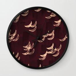 Solar eclipse shadows // burgundy Wall Clock