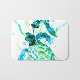 Sea Turtles, Turquoise blue Design Bath Mat