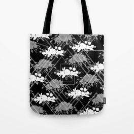 Geometrical modern black white floral pattern Tote Bag