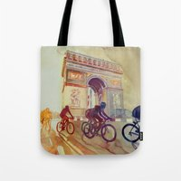 tour de france Tote Bags featuring Tour de France by takmaj