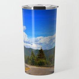 Road below the mountains Travel Mug