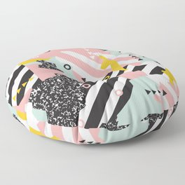 Spliced Geometric Memphis Pattern Geo Stripes Floor Pillow