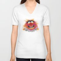 muppets V-neck T-shirts featuring Animal, The Muppets by KitschyPopShop