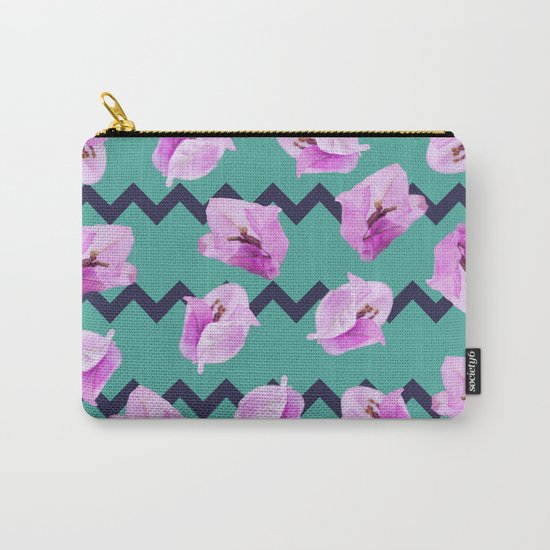Floral Chevron Pattern Carry-All Pouch