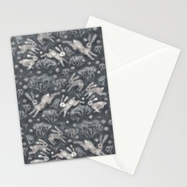 Hares Field, Winter Rabbits Bunnies Pattern, Felted Wool Texture Gray Stationery Cards