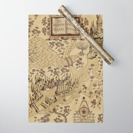 The Wizard world of Hogwarts Wrapping Paper