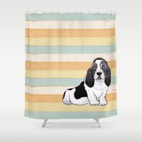 the hound Shower Curtains featuring Basset Hound by Tammy Kushnir