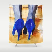 heels Shower Curtains featuring High Heels by Charming Ink