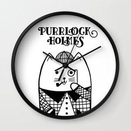 Purrlock Holmes Wall Clock