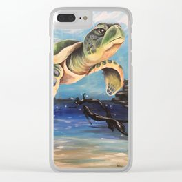 Swimming Turtle And Mermaids Clear iPhone Case