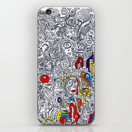 Pattern Doddle Hand Drawn  Black and White Colors Street Art iPhone Skin