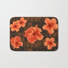 Kalalau Tapa Hawaiian Hibiscus Vintage Inspired Print Bath Mat