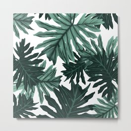 Philo Hope - Tropical Jungle Leaves Pattern #6 #tropical #decor #art #society6 Metal Print