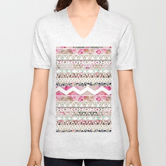 Aztec Spring Time!   Girly Pink White Floral Abstract Aztec Pattern Unisex V-Neck