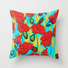 Mohnblüten,Poppies, Throw Pillow