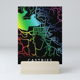 Castries, Saint Lucia, City, Map, Rainbow, Map, Art, Print Mini Art Print
