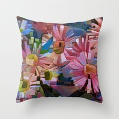 A Daisy Abstract Throw Pillow
