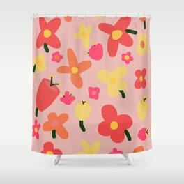 Pink Flowergram Shower Curtain