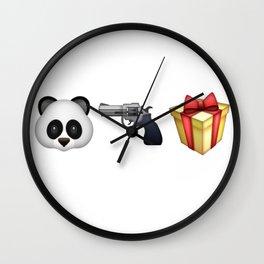 A Panda Next to a Gun Next to a Wrapped Gift (Shosanna, HBO Girls) Wall Clock