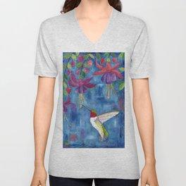 hummingbird & fuchsia Unisex V-Neck