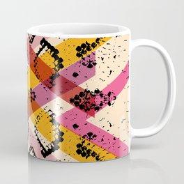Snake skin texture. black magenta orange pink purple print Coffee Mug