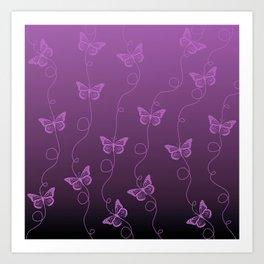 Purple Butterflies Pattern Art Print
