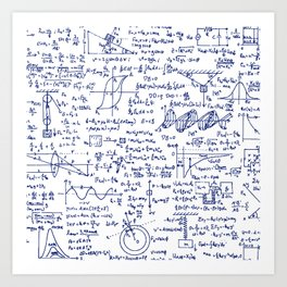 Physics Equations in Blue Pen Art Print