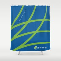 tote bag Shower Curtains featuring optym bag by Pauline Forgeard-Grignon
