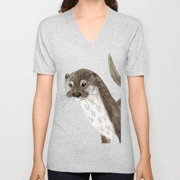 Happy Otter (Lutra lutra) Unisex V-Neck