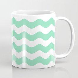 Sea Waves (Mint & White Pattern) Coffee Mug