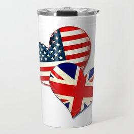 USA and UK hearts Travel Mug