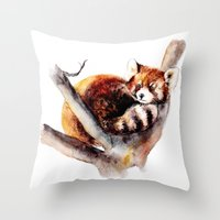 red panda Throw Pillows featuring Red Panda by Anna Shell