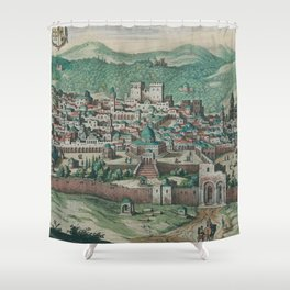Vintage Map of Jerusalem, Nazareth and Rame Israel Shower Curtain