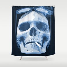 Skull Smoking Cigarette Blue Shower Curtain
