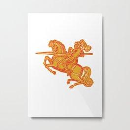 Knight Full Armor Horseback Lance Etching Metal Print