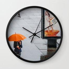 Orange umbrella Wall Clock