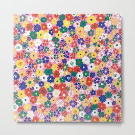Ditsy Daisy Meadow in Mod Pink Metal Print