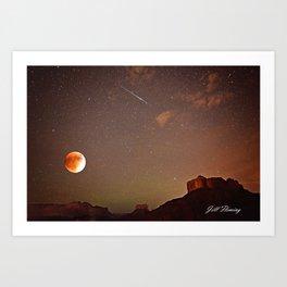 Sedona Blood Moon Eclipse with Shooting Star Art Print