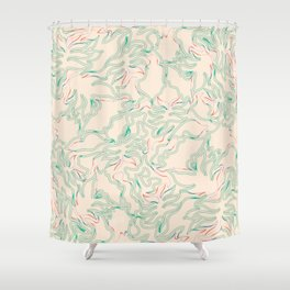 Minimal Shapes Peach Green Orange Skintones Fall Palm Leaf Pattern Digital Art Print Art Print Shower Curtain
