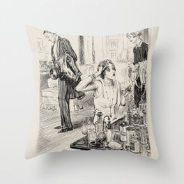 """Pencil drawing -Charles Dana Gibson """"Behind Schedule"""" Throw Pillow"""