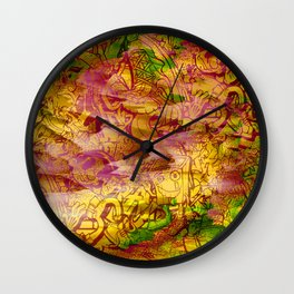 Pager Collage 3 Royal Stain Wall Clock