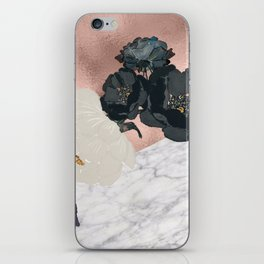Floral marble rose gold iPhone Skin