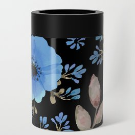 Blue flowers with black Can Cooler