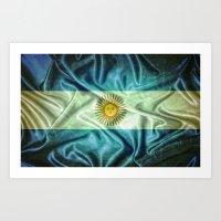 argentina Art Prints featuring Argentina flag. by DesignAstur